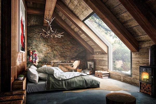 طراحی و نورپردازی اتاق خواب روستیک
