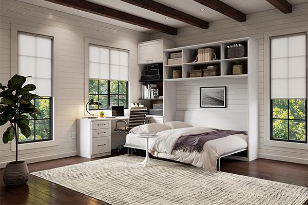 دکووراسیون اتاق خواب به سبک مینیمال با تخت خواب تاشو افقی